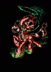 Size: 1240x1754 | Tagged: safe, artist:psaxophone, applejack, earth pony, pony, applejack's hat, black background, bone, cowboy hat, hat, neon, rope, simple background, skeleton, solo