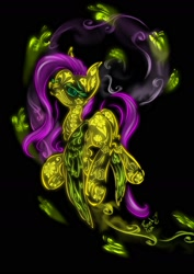 Size: 1240x1754 | Tagged: safe, artist:psaxophone, fluttershy, butterfly, pegasus, pony, black background, bone, neon, simple background, skeleton, solo