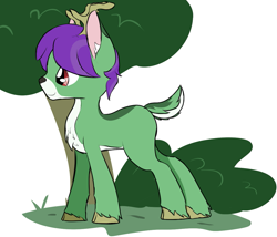 Size: 1145x982 | Tagged: safe, artist:ricktin, oc, oc only, oc:crescent star, crystal pony, deer, deer pony, original species, unicorn, antlers, bush, crystal unicorn, deerified, male, post-transformation, simple background, species swap, stallion, standing, tree