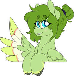 Size: 1209x1228 | Tagged: safe, artist:liefsong, oc, oc only, oc:lief, pegasus, beanbrows, blushing, colored wings, eyebrows, feathered fetlocks, hair bun, looking at you, multicolored wings, simple background, smiling, solo, transparent background, unshorn fetlocks, wings