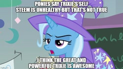 Size: 888x499 | Tagged: safe, edit, edited screencap, screencap, trixie, pony, unicorn, a horse shoe-in, cape, caption, clothes, female, hat, image macro, mare, meme, misspelling, narcissism, open mouth, solo, text, third person, trixie yells at everything, trixie's cape, trixie's hat