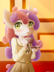 Size: 1200x1600 | Tagged: safe, artist:symbianl, sweetie belle, anthro, unicorn, afternoon, blushing, cheek fluff, clothes, crossover, cup, cute, diasweetes, dress, ear fluff, female, filly, food, open mouth, solo, tea, teacup