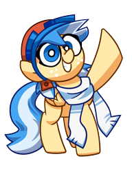 Size: 3000x3900   Tagged: safe, artist:coaldustthestrange, oc, oc only, oc:easy breezy, pegasus, pony, aviator goggles, aviator hat, clothes, cute, female, freckles, goggles, hat, looking at you, mare, pigtails, scarf, simple background, smiling, smiling at you, solo, transparent background, wave