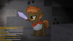 Size: 1246x702 | Tagged: safe, artist:jan, edit, button mash, don't mine at night, cave, coal, diamond sword, haiku, implied apple bloom, implied goldie delicious, implied kettle corn, implied noi, implied rumble, implied sweetie belle, implied terramar, minecraft, sword, text, weapon