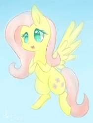 Size: 1024x1353 | Tagged: safe, artist:mif-sakura, artist:misssakura-senpai, fluttershy, pegasus, pony, blue background, chibi, cute, female, mare, no pupils, open mouth, shyabetes, simple background, solo