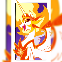 Size: 1080x1080 | Tagged: safe, alternate version, artist:unknownspy, daybreaker, alicorn, pony, fangs, female, hoof shoes, jewelry, mane of fire, mare, open mouth, peytral, raised hoof, smiling, tiara, zoom layer