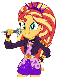Size: 776x1029 | Tagged: safe, artist:emeraldblast63, adagio dazzle, sunset shimmer, equestria girls, bracelet, clothes, clothes swap, cosplay, costume, headband, jacket, jewelry, leather jacket, microphone, shorts, simple background, spiked headband, spiked wristband, transparent background, wristband