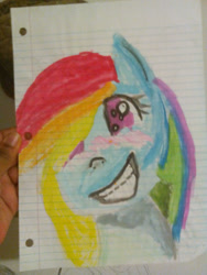 Size: 1920x2560 | Tagged: safe, artist:raven15456, rainbow dash, pegasus, pony, bust, female, grin, irl, lined paper, mare, photo, smiling, solo, traditional art