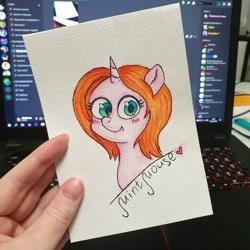Size: 1080x1080   Tagged: safe, artist:mintmouse0_o, oc, oc only, pony, unicorn, blushing, bust, computer, discord (program), horn, irl, laptop computer, photo, solo, traditional art, unicorn oc