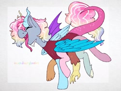 Size: 2048x1536 | Tagged: safe, artist:incendiaryboobs, discord, pinkie pie, rainbow dash, draconequus, eyes closed, fusion, multiple wings, open mouth, six legs, solo, tongue out, wings