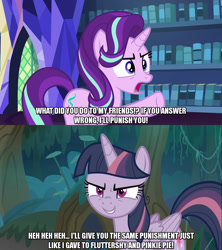 Size: 1280x1440 | Tagged: safe, edit, edited screencap, editor:jaredking203, screencap, mean twilight sparkle, starlight glimmer, alicorn, pony, unicorn, every little thing she does, the mean 6, caption, clone, duo, female, image macro, mare, meme, text