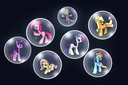 Size: 3072x2048 | Tagged: safe, artist:platinumdrop, applejack, fluttershy, pinkie pie, rainbow dash, rarity, spike, twilight sparkle, alicorn, dragon, bubble, mane seven, mane six, request, twilight sparkle (alicorn), winged spike