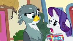 Size: 1920x1080   Tagged: safe, screencap, gabby, rarity, griffon, pony, unicorn, dragon dropped, comic, comic book, confused, drama queen, female, floppy ears, frown, looking at each other, mare, raised eyebrow