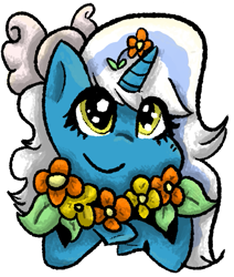Size: 509x601 | Tagged: safe, artist:callmenoki, oc, oc:fleurbelle, alicorn, alicorn oc, bow, female, flower, flower in hair, hair bow, horn, mare, simple background, smiling, transparent background, wingding eyes, wings, yellow eyes