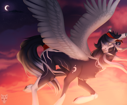 Size: 3000x2500 | Tagged: safe, artist:lastaimin, oc, oc only, oc:jax, pegasus, pony, colored wings, crescent moon, flying, high res, male, moon, smiling, solo, spread wings, stallion, twilight (astronomy), watermark, wings