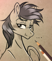 Size: 2564x2954 | Tagged: safe, artist:emberslament, oc, oc only, oc:stargazer silver, pegasus, blushing, colored pencil drawing, colored pencils, commission, grumpy, male, monochrome, photo, simple background, stallion, traditional art, ych result