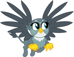 Size: 3861x3000 | Tagged: safe, artist:cloudyglow, gabby, griffon, dragon dropped, .ai available, cute, female, flying, gabbybetes, high res, simple background, solo, transparent background, vector