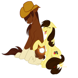 Size: 2000x2000   Tagged: safe, artist:varaan, oc, oc only, oc:alana pallaton-hooves, oc:hopefull light, earth pony, pony, brother and sister, eyes closed, female, hat, male, mare, open mouth, siblings, simple background, stallion, transparent background
