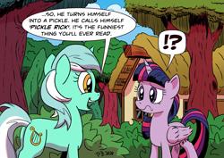 Size: 2047x1447 | Tagged: safe, artist:pony-berserker, lyra heartstrings, twilight sparkle, alicorn, pony, unicorn, exclamation point, meme, pickle rick, question mark, raised eyebrow, rick and morty, tree, twilight sparkle (alicorn)