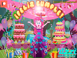 Size: 2000x1500 | Tagged: safe, artist:ponydubberx, artist:uzzi-ponydubberx, pinkie pie, equestria girls, balloon, birthday, birthday cake, birthday gift, birthday party, birthday present, cake, clothes, commission, dress, food, gift box, gift wrapped, party, patreon, patreon logo, present, solo, spanish, spanish description, spanish text
