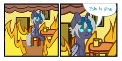 Size: 4000x2000 | Tagged: safe, artist:zarioly, oc, oc only, oc:elizabat stormfeather, alicorn, bat pony, bat pony alicorn, pony, 2 panel comic, alicorn oc, bat pony oc, bat wings, chair, comic, commission, female, fire, horn, mare, meme, mug, open mouth, ponified meme, sitting, smoke, solo, table, this is fine, wings, ych result