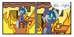 Size: 4000x2000 | Tagged: safe, alternate version, artist:zarioly, oc, oc only, oc:elizabat stormfeather, alicorn, bat pony, bat pony alicorn, pony, 2 panel comic, alicorn oc, bat pony oc, bat wings, chair, comic, commission, female, fire, horn, mare, meme, mug, open mouth, ponified meme, sitting, smoke, solo, table, this is fine, wings, ych result