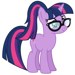 Size: 1024x1024 | Tagged: safe, artist:emeraldblast63, sci-twi, twilight sparkle, pony, unicorn, equestria girls, spring breakdown, alternate hairstyle, equestria girls ponified, female, glasses, mare, ponified, ponytail, redesign, simple background, transparent background, unicorn sci-twi, vector