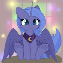 Size: 1024x1024 | Tagged: safe, artist:zokkili, princess luna, alicorn, pony, colored pupils, cute, daaaaaaaaaaaw, female, filly, looking at you, lunabetes, sitting, smiling, solo, spread wings, weapons-grade cute, wings, woona, younger, zokkili is trying to murder us