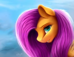 Size: 1600x1237 | Tagged: safe, artist:allforyouart, fluttershy, pegasus, pony, bust, female, looking at you, mare, portrait, profile, solo
