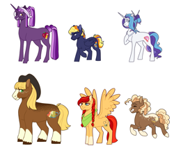 Size: 1117x1000 | Tagged: safe, artist:luniarctic, oc, oc only, oc:apple cider, oc:crystal rose, oc:delilah dusk, oc:napolitano cake, oc:scarlet apple, oc:sky flash, cowboy hat, female, freckles, hat, height difference, jewelry, male, mare, neckerchief, necklace, next generation, offspring, parent:applejack, parent:big macintosh, parent:cheese sandwich, parent:fancypants, parent:fluttershy, parent:king sombra, parent:pinkie pie, parent:quibble pants, parent:rainbow dash, parent:rarity, parent:troubleshoes clyde, parent:twilight sparkle, parents:cheesepie, parents:fluttermac, parents:quibbledash, parents:raripants, parents:troublejack, parents:twibra, reference used, simple background, socks (coat marking), spread wings, stallion, style emulation, unshorn fetlocks, vector used, white background, wings