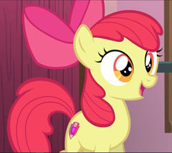 Size: 1061x941 | Tagged: safe, screencap, apple bloom, on your marks, adorabloom, cropped, cute, open mouth, smiling, solo