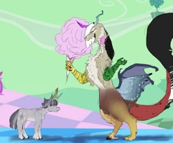 Size: 1280x1055   Tagged: safe, artist:afoolthatisjustweird, discord, twilight sparkle, draconequus, pony, unicorn, the return of harmony, alternate design, big crown thingy, chaos, cottom ball, cotton candy, discorded, discorded landscape, dusk shine, element of magic, eris, jewelry, laughing, regalia, rule 63, scene interpretation, unicorn dusk shine, unicorn twilight