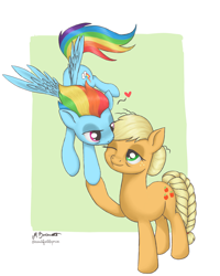 Size: 2755x3444   Tagged: safe, artist:caulfieldsprice, applejack, rainbow dash, earth pony, pegasus, pony, the last problem, apple, appledash, cutie mark, female, floating heart, food, heart, lesbian, lesbian dash, love, meme, older, older applejack, older rainbow dash, one eye closed, otp, pairings, rainbow, ship, shipping, wings