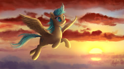 Size: 1920x1080 | Tagged: safe, artist:magfen, sunshower raindrops, pegasus, pony, cloud, female, flying, mare, sky, solo, spread wings, sunset, wings