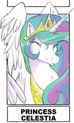 Size: 736x1208   Tagged: safe, alternate version, artist:jamilsart, princess celestia, alicorn, pony, bust, eyes closed, female, jewelry, mare, peytral, smiling, solo, tiara