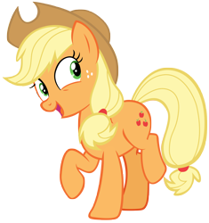Size: 6869x7306 | Tagged: safe, artist:andoanimalia, applejack, earth pony, pony, buckball season, applejack's hat, cowboy hat, cute, excited, female, freckles, hat, jackabetes, looking to side, mare, ponytail, raised hoof, raised leg, simple background, smiling, solo, stetson, tied tail, transparent background, vector
