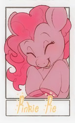 Size: 621x1018 | Tagged: safe, alternate version, artist:doekis, pinkie pie, earth pony, pony, colored hooves, eyes closed, female, mare, open mouth, smiling, text