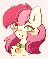 Size: 1122x1362 | Tagged: safe, artist:redslipp, roseluck, pony, bell, bell collar, bust, cat bell, collar, cute, fluffy, pony pet, portrait, rosepet