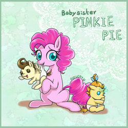 Size: 1000x1000 | Tagged: safe, artist:bunina, pinkie pie, pound cake, pumpkin cake, earth pony, pegasus, pony, unicorn, baby, baby pony, babysitting, cake twins, cute, diaper, female, foalsitter, foalsitting, mare, mouth hold, siblings, sitting, twins