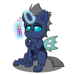 Size: 4093x4093   Tagged: safe, artist:jcosneverexisted, oc, oc only, oc:spectre phase, changeling, pony, my little pony: pony life, blue changeling, male, potion, simple background, sitting, solo, thinking, transparent background