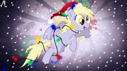 Size: 1920x1080 | Tagged: safe, artist:gameguy001, artist:justaninnocentpony, edit, derpy hooves, pegasus, pony, christmas, christmas lights, female, hat, holiday, mare, santa hat, solo, wallpaper, wallpaper edit