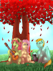 Size: 900x1200 | Tagged: safe, artist:anxiousshadowpetals, fluttershy, lightning dust, tree hugger, dog, commission, dappled sunlight, fanfic art, female, flower, flutterhugger, guitar, lesbian, musical instrument, petting, rose, shipping, singing, smiling, sunshine, tree