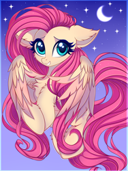 Size: 3000x4000 | Tagged: safe, artist:mite-lime, fluttershy, pegasus, pony, cheek fluff, chest fluff, crescent moon, cute, ear fluff, female, high res, leg fluff, mare, moon, night, shyabetes, sky, smiling, solo, starry night, stars
