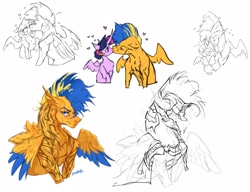 Size: 1951x1500 | Tagged: safe, artist:maggephah, flash sentry, twilight sparkle, alicorn, pegasus, pony, alternate design, armor, blush sticker, blushing, bust, colored wings, colored wingtips, cuddling, cute, eye scar, female, flash hunktry, flashlight, floating heart, heart, lip piercing, lip ring, male, piercing, scar, shipping, simple background, size difference, straight, tattoo, torn ear, twiabetes, twilight sparkle (alicorn), white background, wings