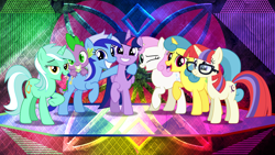 Size: 1920x1080 | Tagged: safe, artist:dashiesparkle, artist:laszlvfx, edit, lemon hearts, lyra heartstrings, minuette, moondancer, spike, twilight sparkle, twinkleshine, alicorn, dragon, pony, unicorn, canterlot six, female, glasses, male, mare, twilight sparkle (alicorn), wallpaper, wallpaper edit