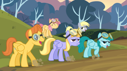 Size: 1920x1080 | Tagged: safe, screencap, cloud kicker, derpy hooves, dizzy twister, orange swirl, spring melody, sprinkle medley, warm front, pegasus, pony, hurricane fluttershy, background pony, female, goggles, male, mare, stallion, stomping