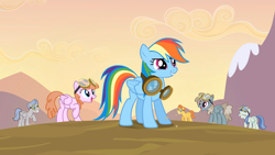 Size: 1920x1080 | Tagged: safe, screencap, dust devil, jetstream, rainbow dash, spring skies, warm front, pegasus, pony, hurricane fluttershy, background pony, female, male, mare, silverwing (character), stallion, stomping