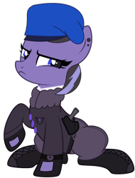Size: 1780x2347 | Tagged: safe, artist:celestial-rue0w0, oc, oc only, oc:lunal guard, earth pony, pony, belt, beret, bomber jacket, boots, clothes, commission, ear piercing, earring, female, gun, handgun, hat, holster, jacket, jewelry, mare, pants, piercing, pistol, raised hoof, shirt, shoes, simple background, sitting, solo, transparent background, unamused, watch, weapon, wristwatch