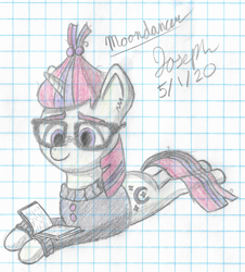 Size: 2266x2503 | Tagged: safe, artist:mlplayer dudez, moondancer, pony, unicorn, book, cel shading, clothes, cute, cutie mark, ear fluff, eyebrows, female, glasses, graph paper, happy, looking down, lying down, mare, prone, reading, shading, signature, smiling, solo, sweater, traditional art