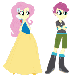 Size: 2289x2289 | Tagged: safe, edit, fluttershy, scootaloo, equestria girls, maggie vera, simple background, snow white, transparent background